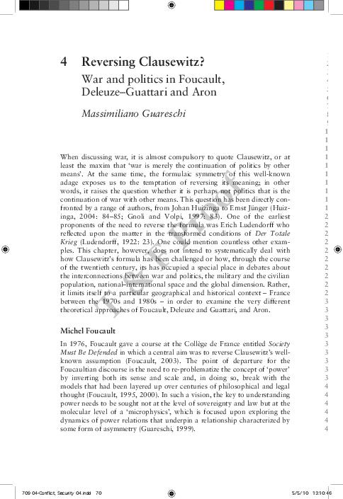 PDF) Reversing Clausewitz? War and Politics in Foucault