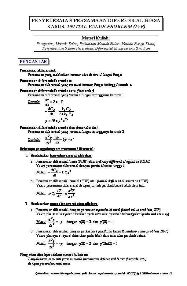 Contoh Soal Dan Penyelesaian Metode Numerik