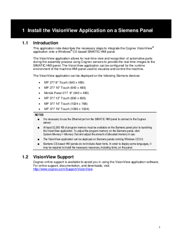 PDF) Install the VisionView Application on a Siemens Panel