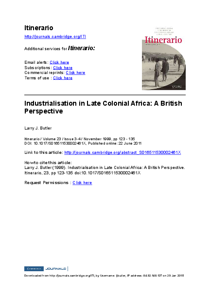 Industrialisation and the British Colonial State: West Africa 1939-1951