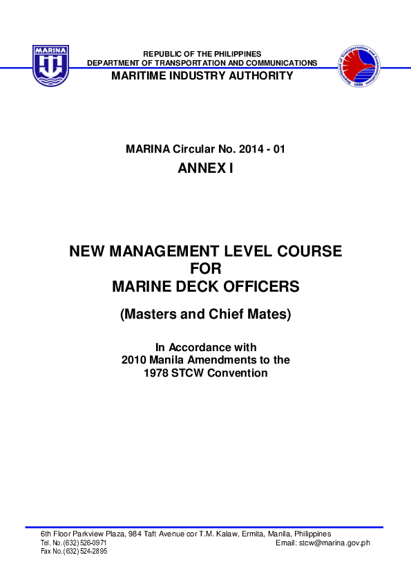 PDF) MARITIME INDUSTRY AUTHORITY NEW MANAGEMENT LEVEL COURSE FOR
