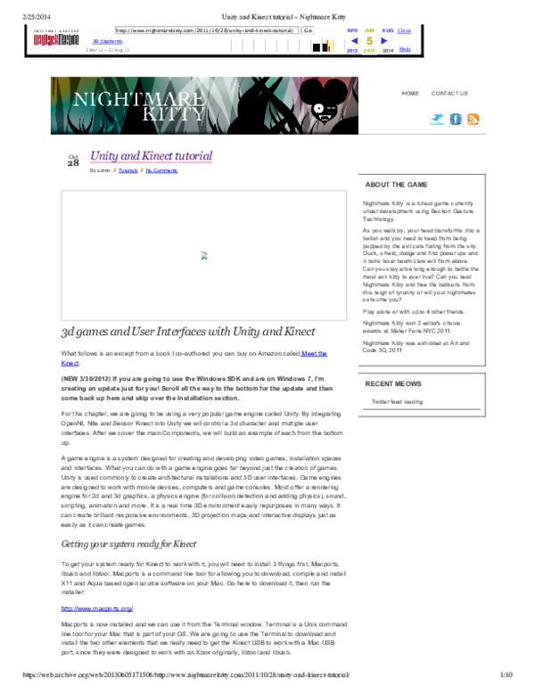 PDF) Unity and Kinect tutorial Nightmare Kitty | Alan Alves