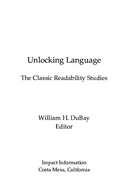 PDF) Unlocking Language: The Classic Readability Studies | William