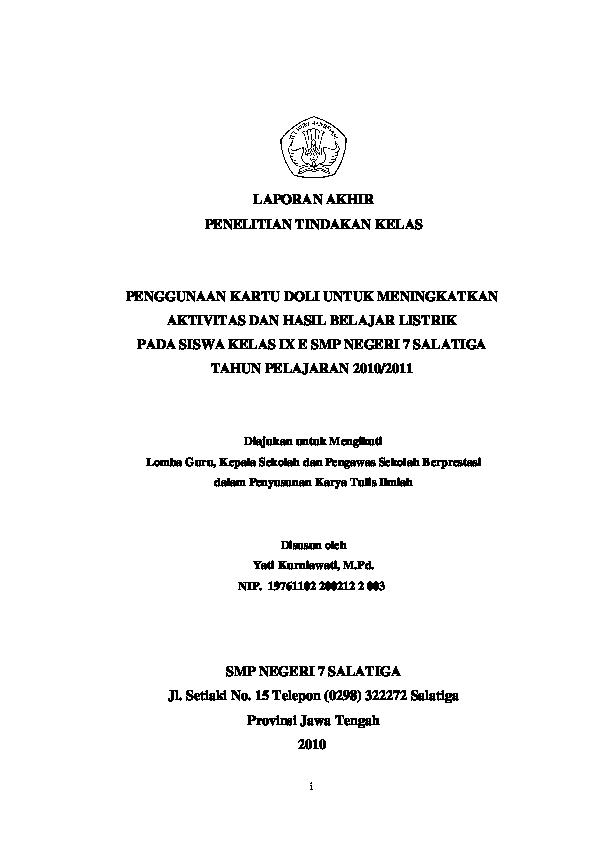 Pdf I Laporan Akhir Penelitian Tindakan Kelas Penggunaan Kartu Doli Untuk Meningkatkan Aktivitas Dan Hasil Belajar Listrik Pada Siswa Kelas Ix E Smp Negeri 7 Salatiga Tahun Pelajaran 2010 2011 Diajukan Untuk Mengikuti