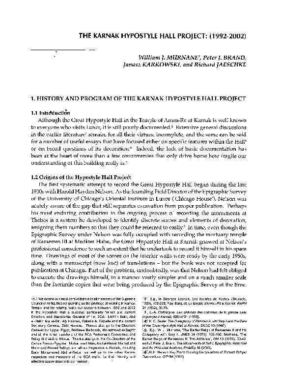 PDF) The Karnak Hypostyle Hall Project (1992-2002), Annales du