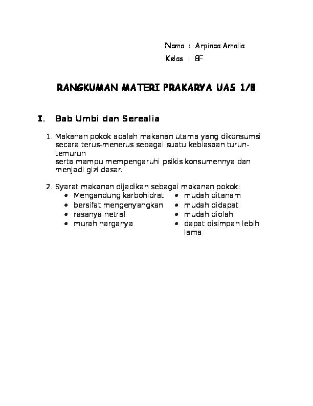 Doc 8f Rangkuman Materi Prakarya Uas 1 8 Arpinaa Amalia