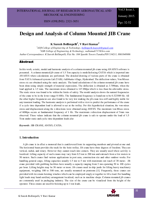 PDF) Design and Analysis of Column Mounted JIB Crane | IJRAME