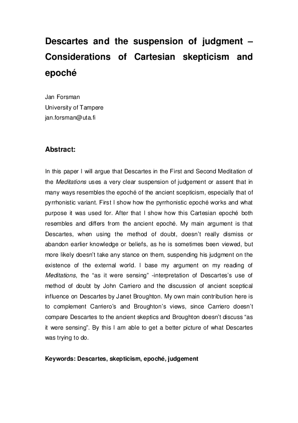 PDF) Descartes and the suspension of judgment