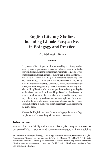 The Arab Spring and Education: The Need for an Islamic Pedagogy