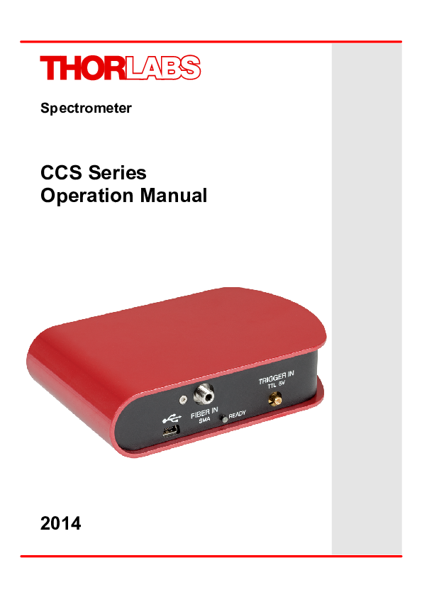 PDF) Spectrometer CCS Series Operation Manual | Agutin Herrerias