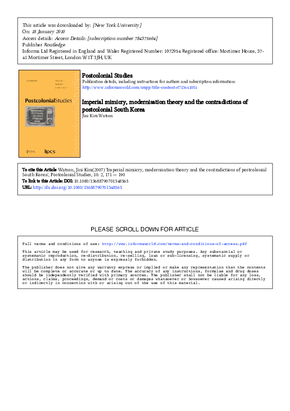 PDF) Imperial Mimicry, Modernisation Theory and the