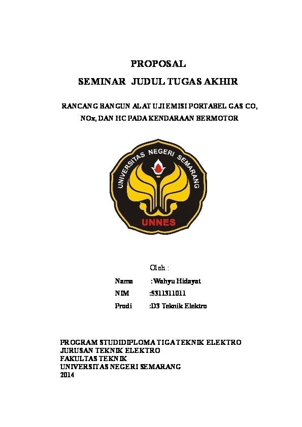 Doc Proposal Seminar Judul Tugas Akhir Prodi D3 Teknik Elektro Program Studidiploma Tiga Teknik Elektro Jurusan Teknik Elektro Fakultas Teknik Universitas Negeri Semarang 2014 Hidayat Eko Academia Edu