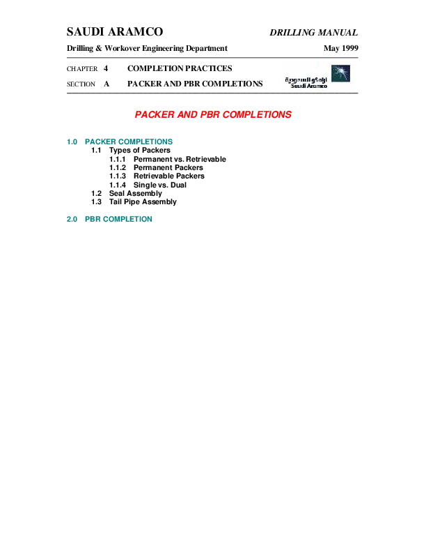 PDF) SAUDI ARAMCO CHAPTER 4 COMPLETION PRACTICES SECTION A PACKER