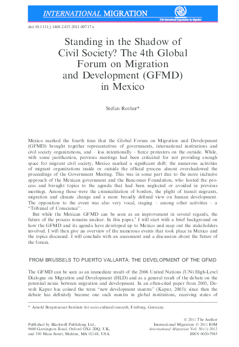 PDF) Standing in the Shadow of Civil Society? The 4th Global