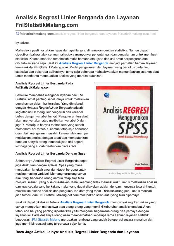 Analisis Regresi Linier Berganda Research Papers Academia Edu