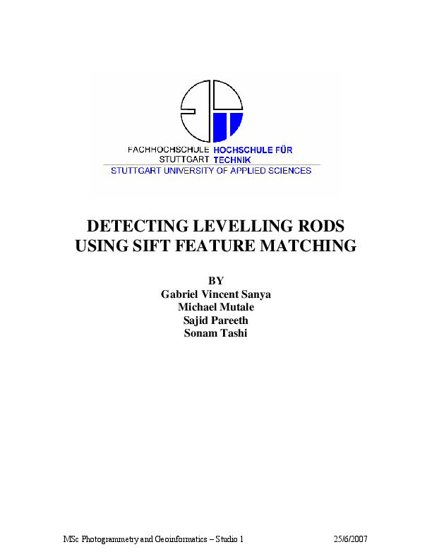 PDF) Detecting Leveling Rods Using Sift Feature Matching
