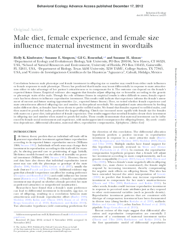 PDF) Male diet, female experience, and female size influence