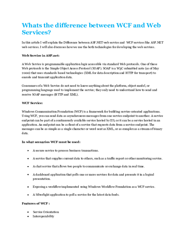 PDF) Whats the difference between WCF and Web Services | Murtuza Ali