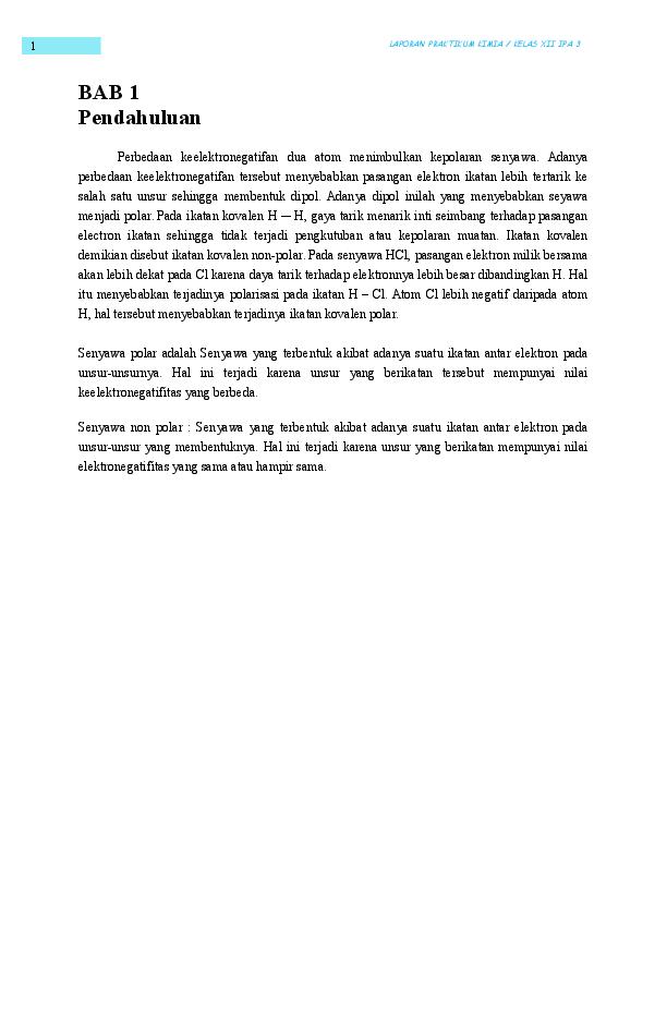 Doc Laporan Senyawa Polar Dan Non Polar Windy Axerliza Academia Edu
