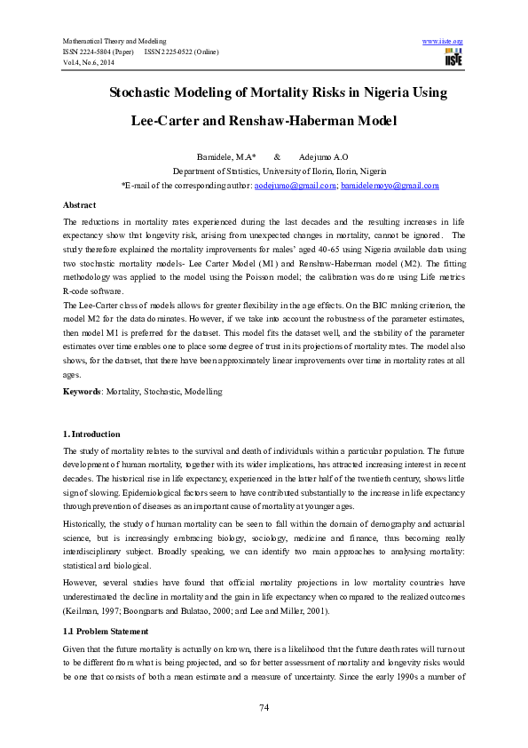 PDF) Stochastic Modeling of Mortality Risks in Nigeria Using Lee