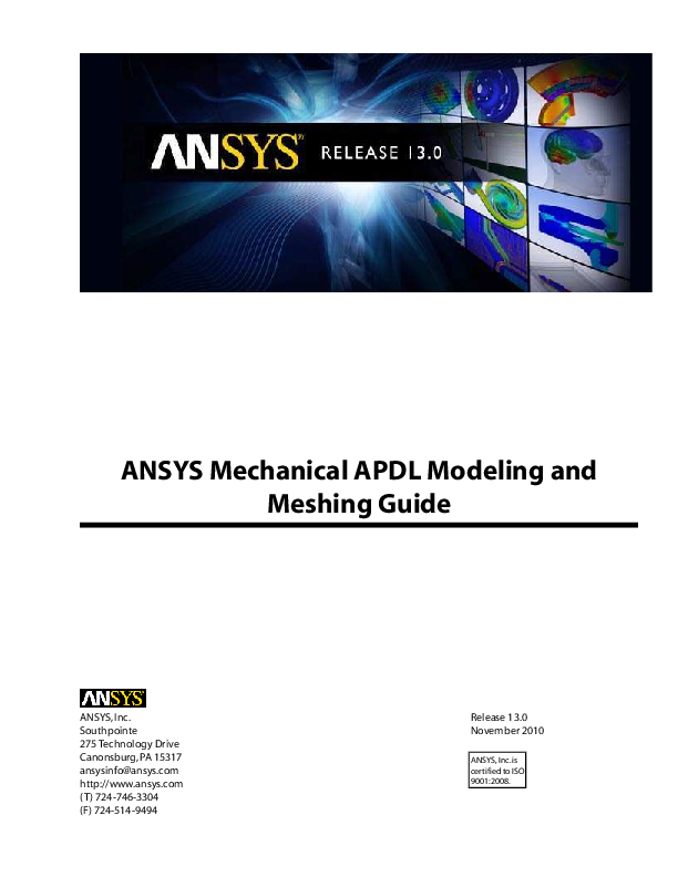 PDF) ANSYS Mechanical APDL Modeling and Meshing Guide