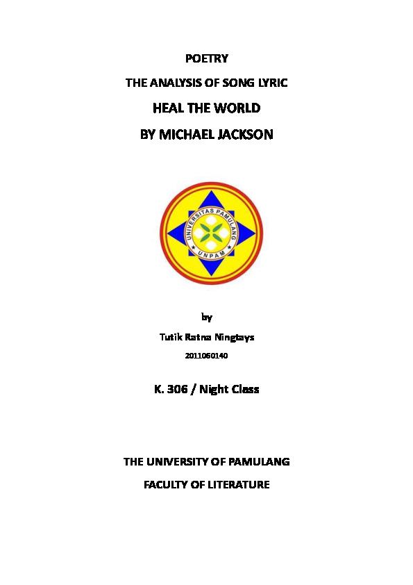PDF) Analysis of Heal The World Song Lyric   Tutik Ratna