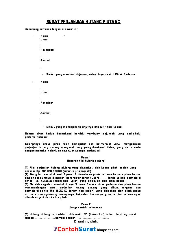 Doc Contoh Surat Perjanjian Hutang Piutang Akmal Udin
