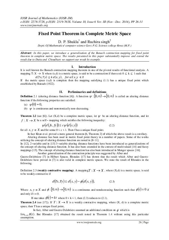 Pdf Fixed Point Theorem In Complete Metric Space Top Journal