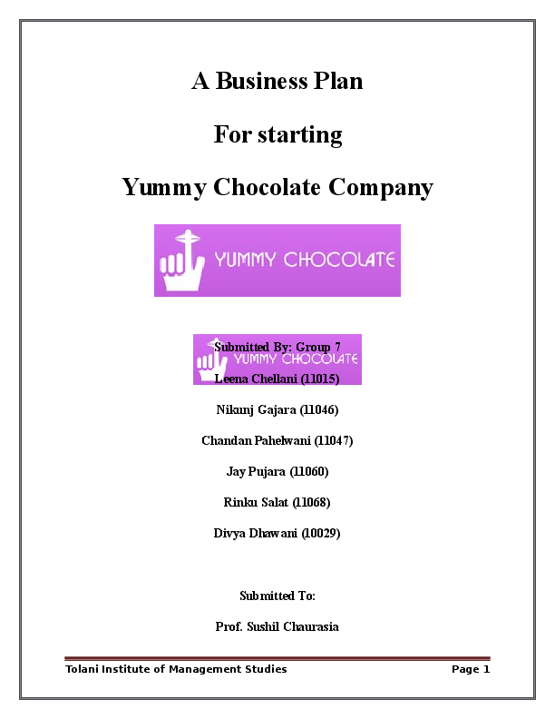 business plan candy company