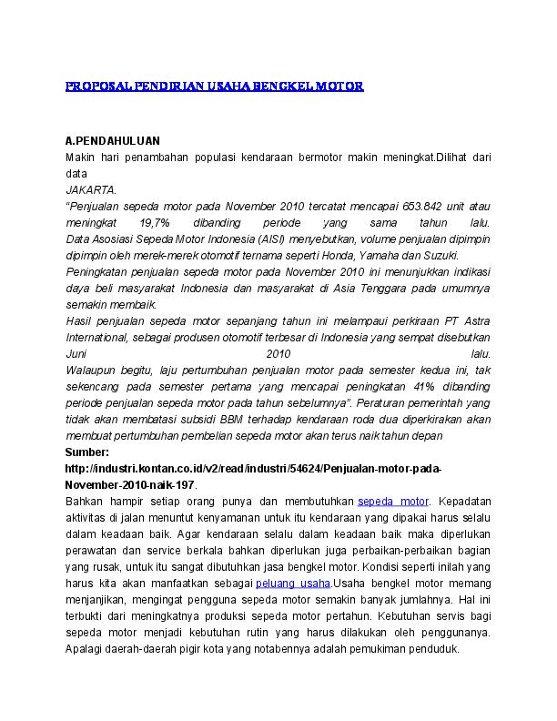 Doc Proposal Pendirian Usaha Bengkel Motor Guntar S Hadie