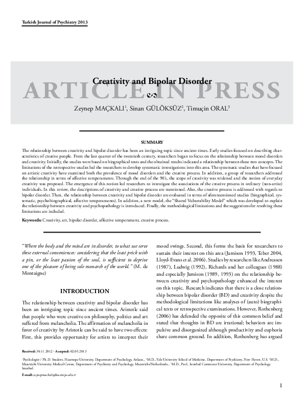 PDF) Creativity and bipolar disorder | E  Timuçin Oral