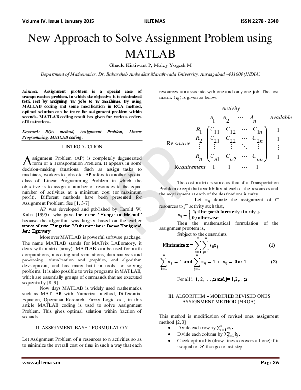 PDF) New Approach to Solve Assignment Problem using MATLAB