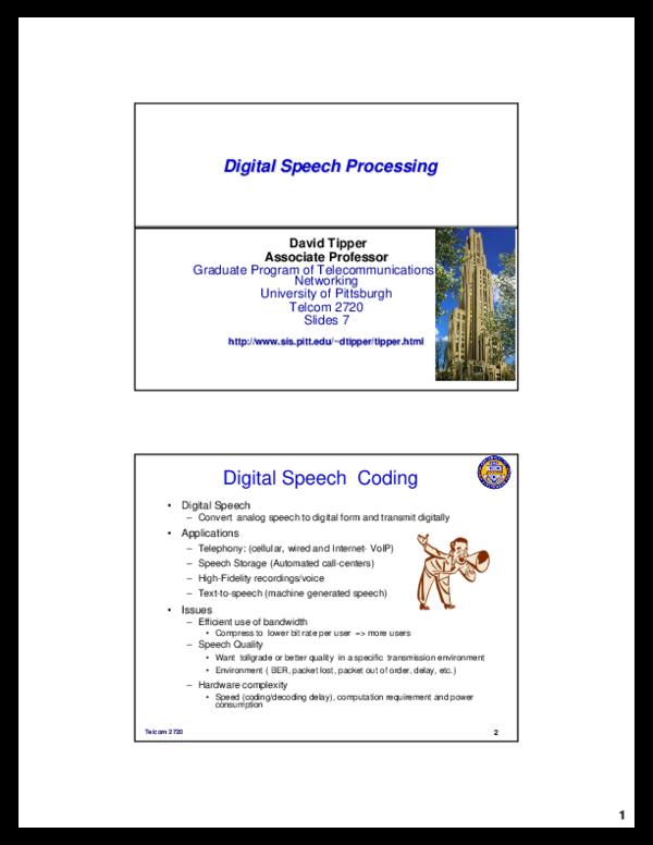 Digital Speech Processing Digital Speech Processing Digital Speech