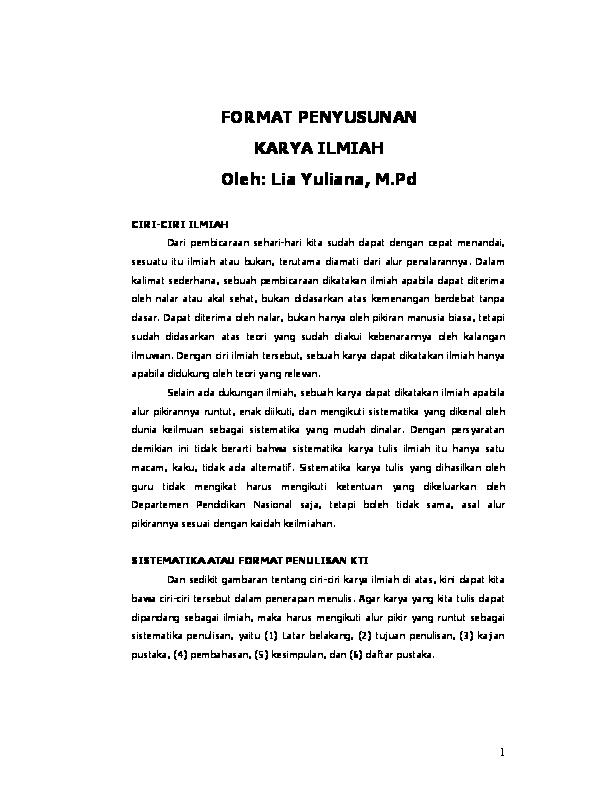 Pdf Format Penyusunan Karya Ilmiah By Alexa Sitohang Kristian Alexander Sitohang Academia Edu