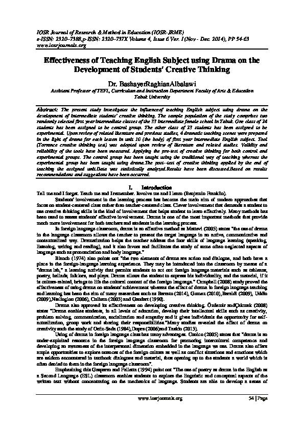 PDF) Effectiveness of Teaching English Subject using Drama