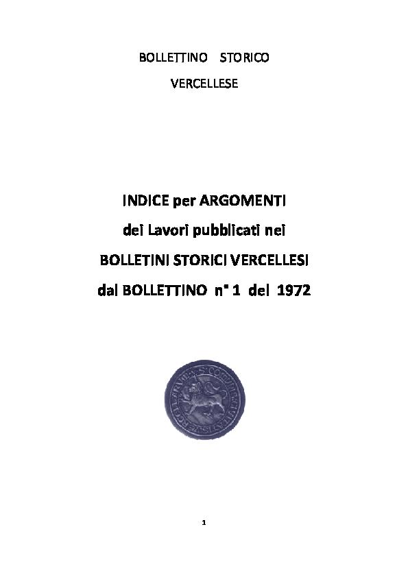 Pdf Indice Per Argomenti Dei Lavori Pubblicati Nei Bollettini Storici Vercellesi Dal Bollettino N 1 Del 1972 Societa Storica Vercellese Academia Edu