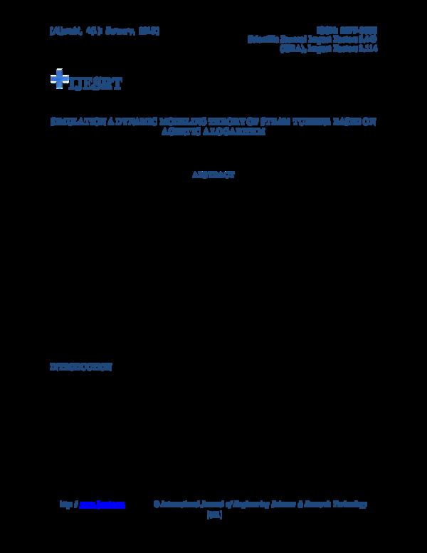 PDF) SIMULATION A DYNAMIC MODELING THEORY OF STEAM TURBINE
