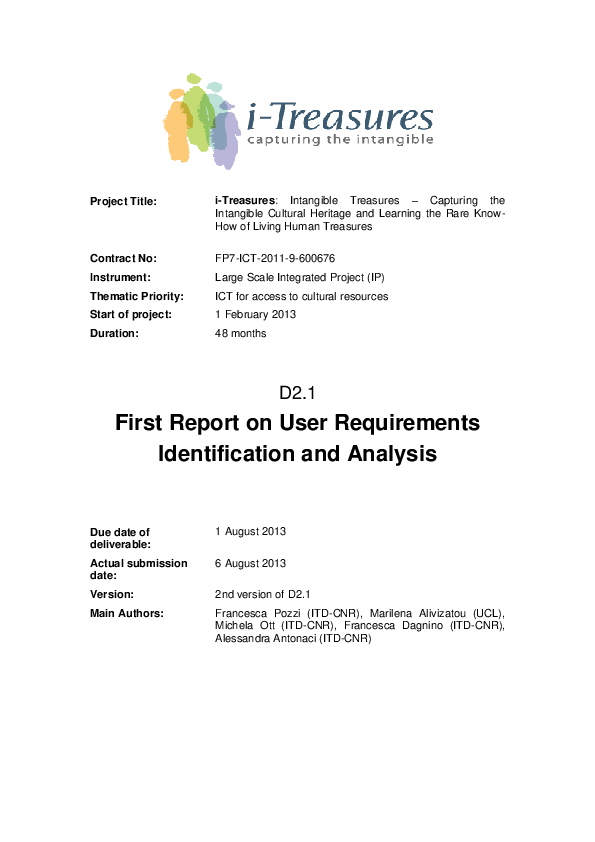 PDF) First Report on User Requirements Identification and