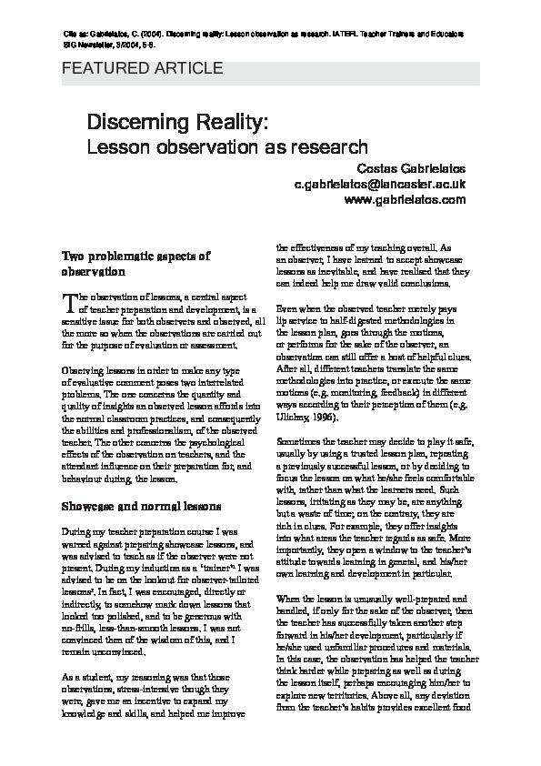Gabrielatos, C  (2004)  Discerning reality: Lesson