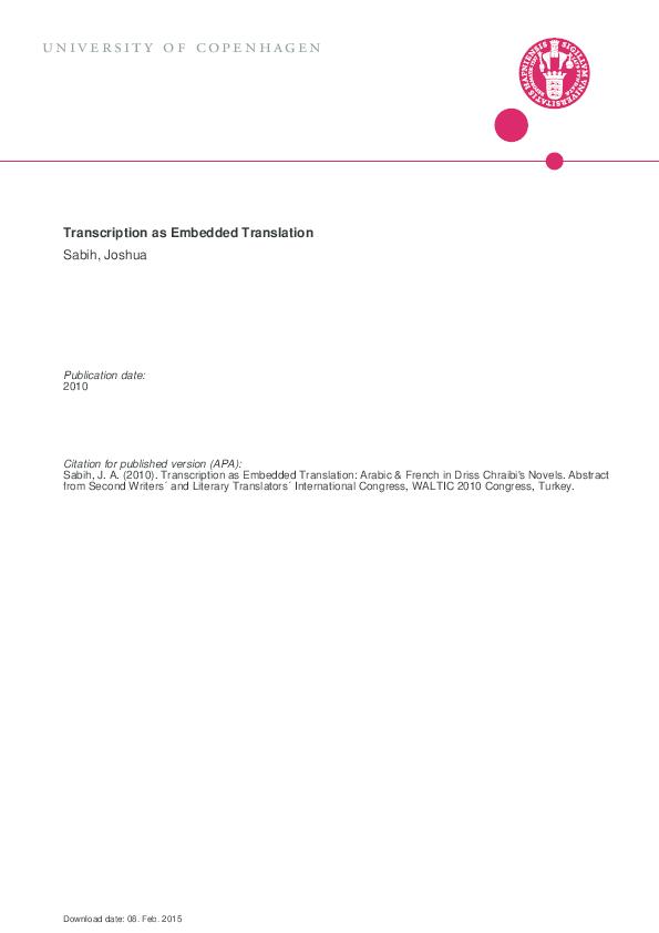 PDF) Transcription as Embedded Translation: Arabic & French