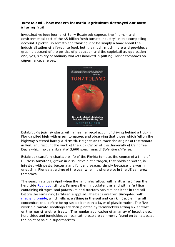 DOC) Tomatoland – how modern industrial agriculture