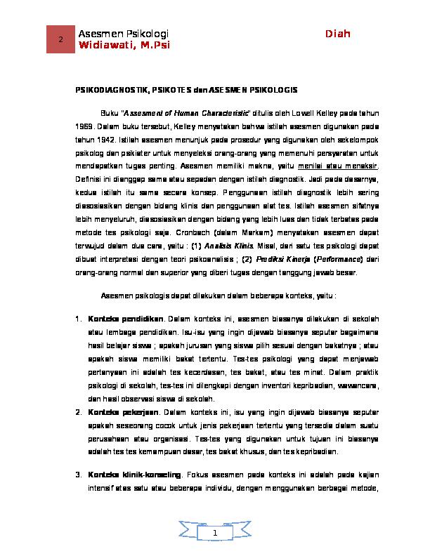 Doc Psikodiagnostik Psikotes Dan Asesmen Psikologis Eliyani Eliyani Academia Edu