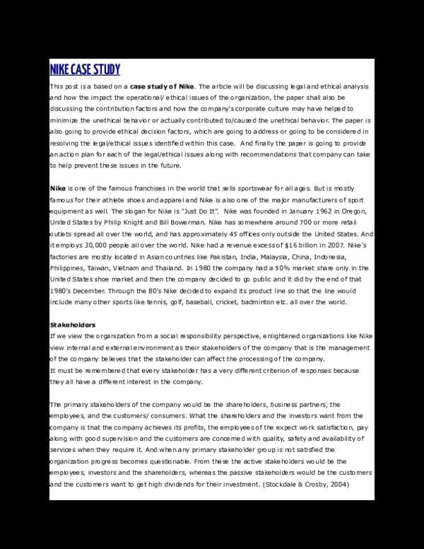 Centro de la ciudad Anestésico Zanahoria  DOC) NIKE CASE STUDY | Salwa Humaid - Academia.edu