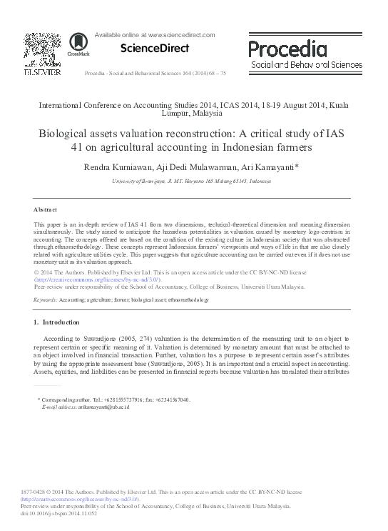 PDF) Biological assets valuation reconstruction: A critical