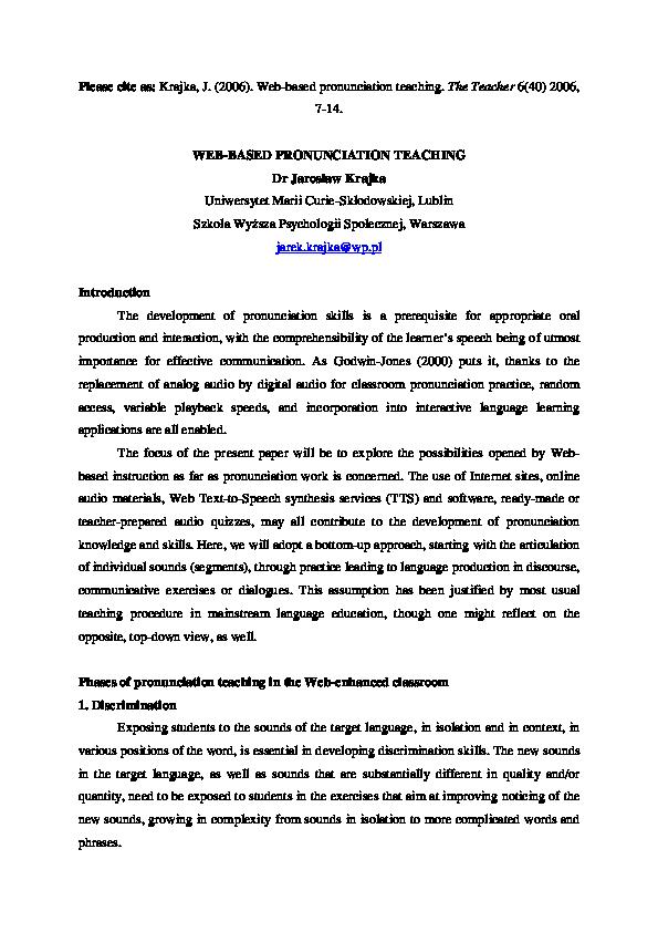 PDF) Web-based pronunciation teaching | Jarek Krajka - Academia edu