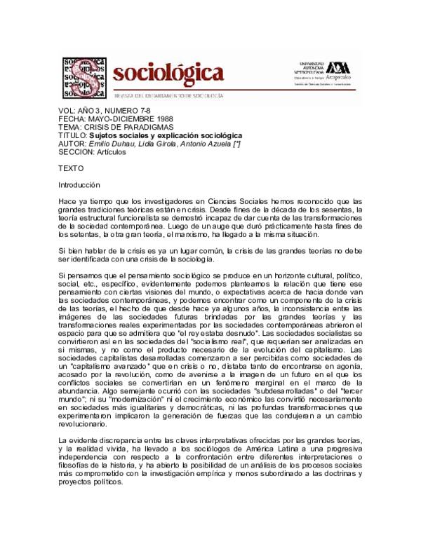 Pdf Sujetos Sociales Y Explicación Sociológica Lidia