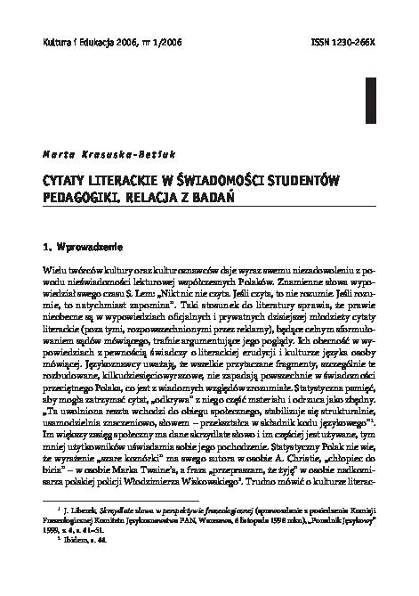 Pdf Cytaty Literackie W W świadomości Studentów Marta