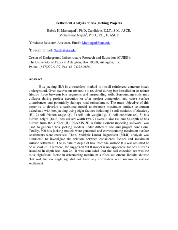 PDF) Settlement Analysis of Box Jacking Projects | Babak