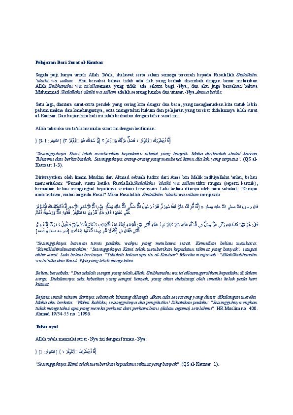 Doc Pelajaran Dari Surat Al Kautsar Widy Anggraini