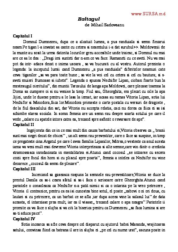 Doc Baltagul De Mihail Sadoveanu Alexandra Banciu Academiaedu